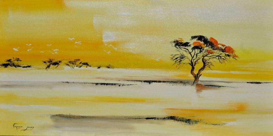 SAVANNA TREE - OIL ON CANVAS - 80 x 160 cm