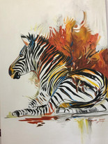 IN THE SHADE (ZEBRA) - OIL ON 100% COTTON CANVAS - 50 x 70cm
