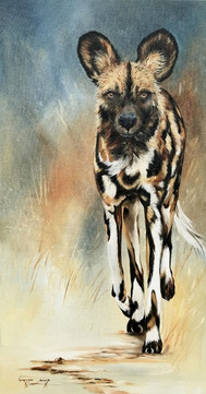 WILD DOG ON THE TROT - OIL ON CANVAS -  60 x 120 cm