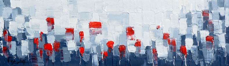 25 RED ROSES - OIL ON CANVAS - 40 x 95 cm