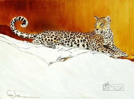 BASKING LEOPARD - OIL ON CANVAS