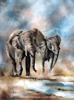 ELEPHANTS APPROACHING WATER