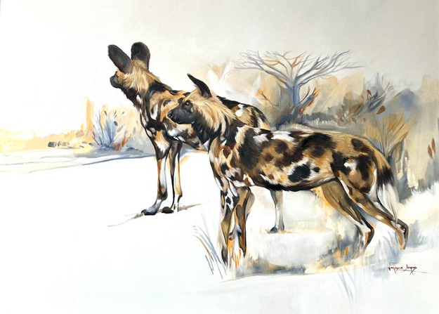 WILD DOG SCOUTS - OIL ON 100% COTTON CANVAS - 90 x 120cm