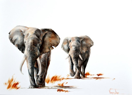 ELEPHANTS ON PATROL - OIL ON CANVAS - 60 x 50 cm