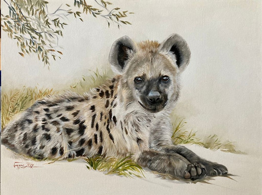 YOUNG HYENA - WAITING FOR MOM - OIL ON 100% COTTON CANVAS - 70cm x 90cm