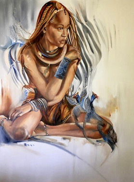 HIMBA GIRL - OIL ON 100% COTTON CANVAS - 90 x 120 cm