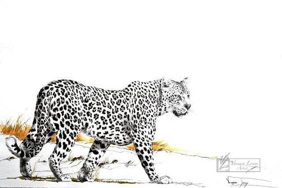 BIG BOY, LEOPARD - 140 x 100 cm - FRAMED