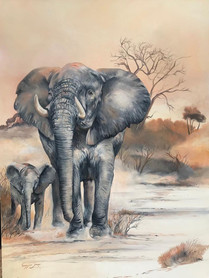 MOTHERLY PROTECTION - OIL ON 100% COTTON CANVAS - 90 x 120 cm