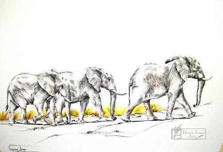 FOLLOW MY LEADER, ELEPHANTS - 110 x 80 cm