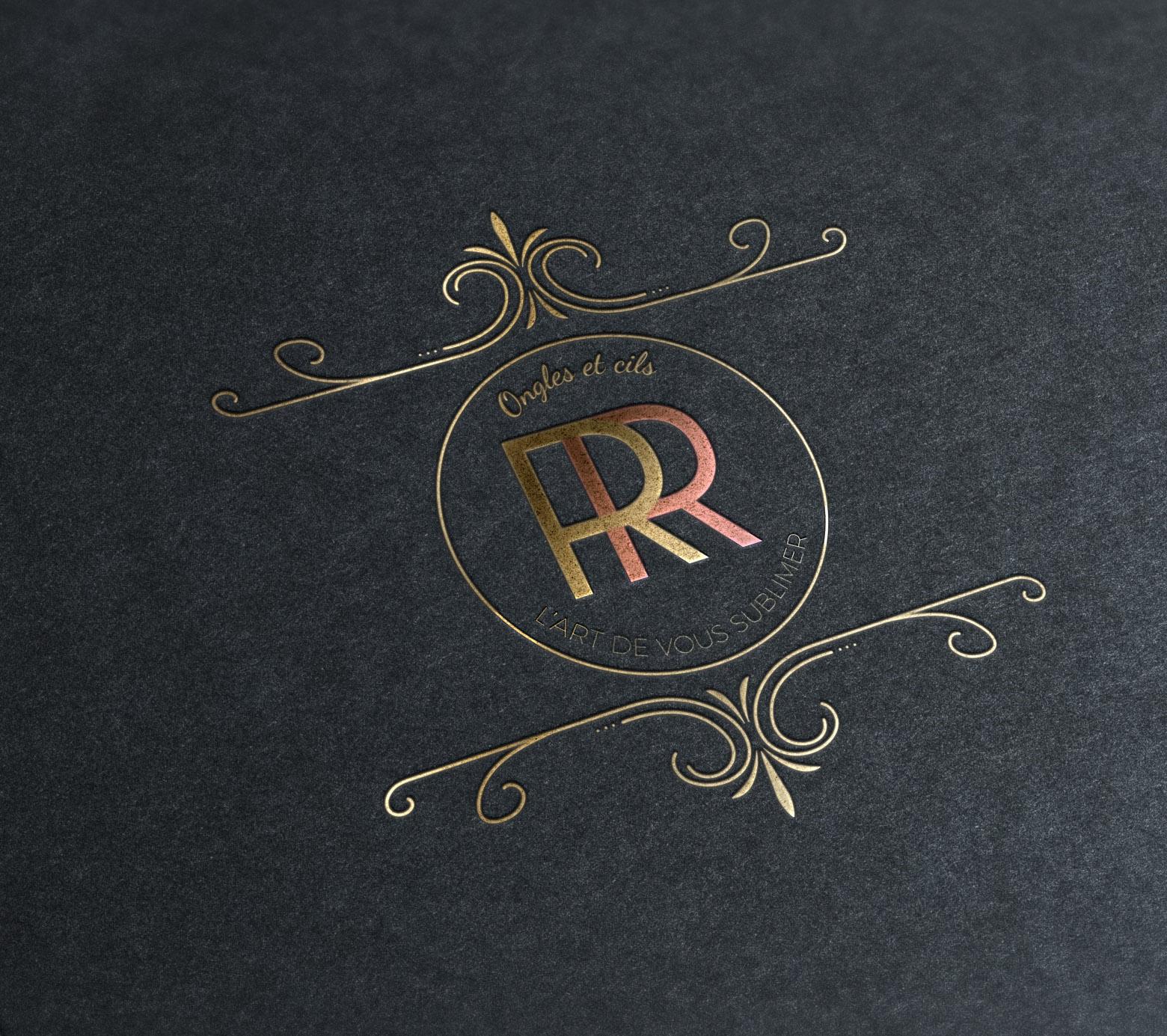 Création de logo, or rose, esthétiqu