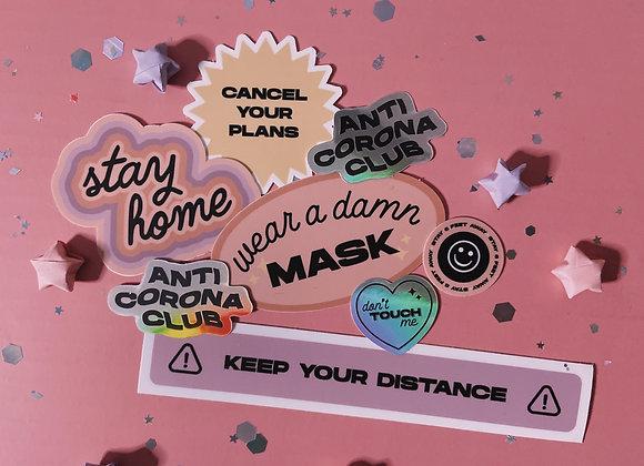 Anti-Corona Club Sticker Pack (Set of 7)