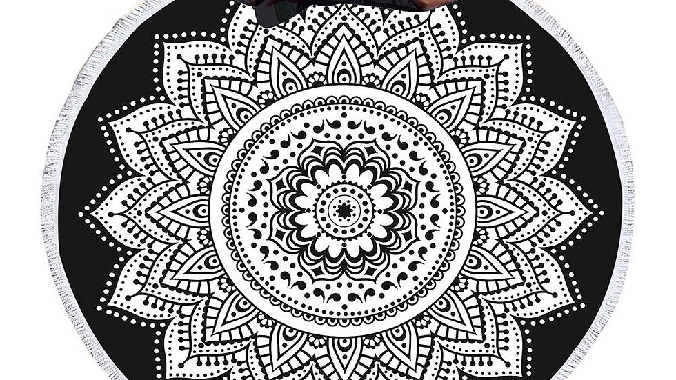 Indian Round Beach Towel Boho Tassel Mandala Lotus