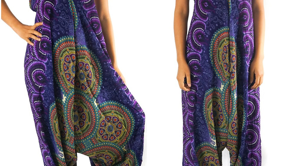 Purple Psychedelic Mandala Jumpsuit Hippie Rompers