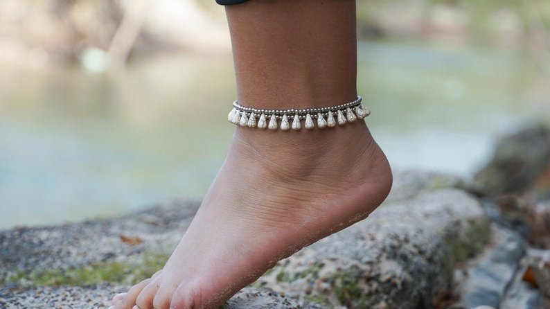 White Teardrop Bead Boho Silver Anklet