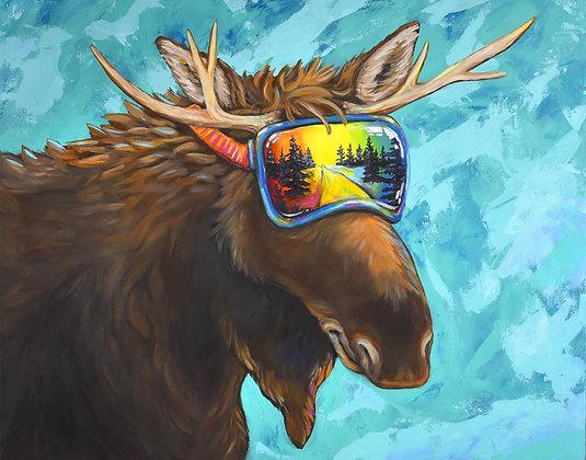 Moose Reflection Fine Art Velvet Print