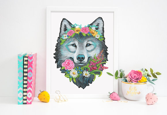 One With the Wildflower Wolf Paper Print