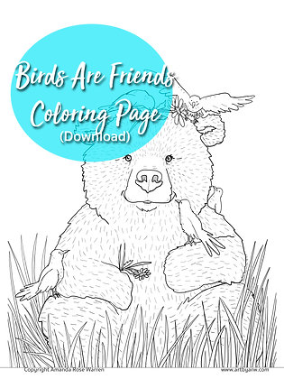 Birds Are Friends Coloring Page Download PDF