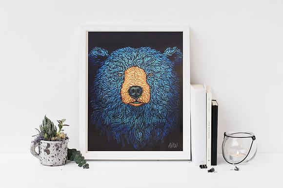 Blue Bear Fine Art Velvet Print