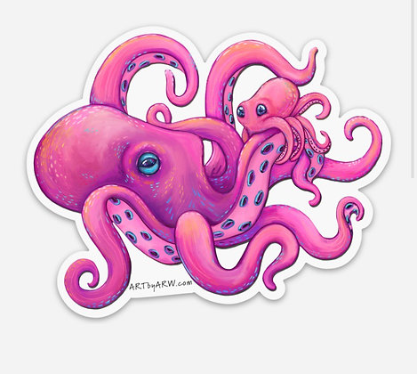 Stick with Me Octopus Waterproof Sticker
