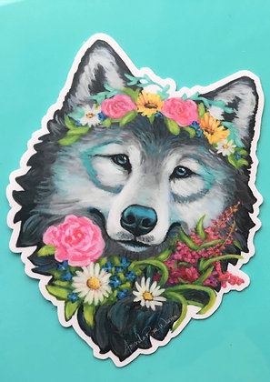 Wolf, One with the Wildflowers Sticker