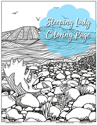 Sleeping Lady Mountain, Coloring Page Download