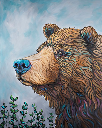 Brown Bear, On Guard Canvas Print