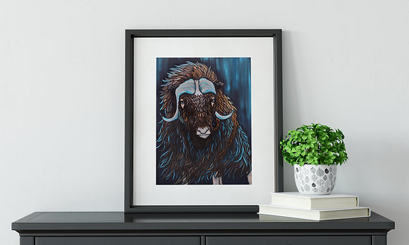 Arctic Breeze, Musk Ox Fine Art Velvet Print