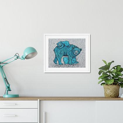 Three Hearts, Momma Bear Paper Print