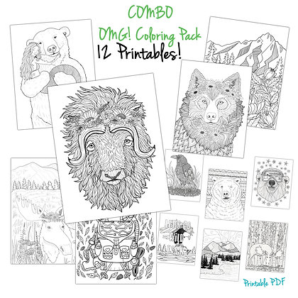 12 Page Coloring Pack (Wild and Arctic Floral Combined)