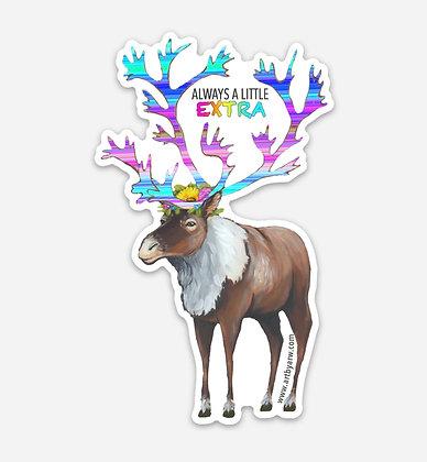 Always A Little Extra, Caribou Waterproof Sticker