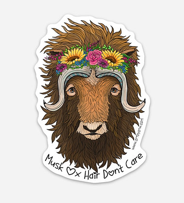 Musk Ox Hair Don't Care Waterproof Sticker