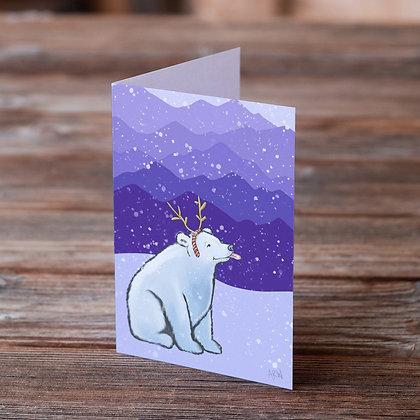 Polar Bear Catching Snowflakes Greeting Card