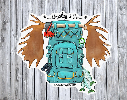 Unplug and Go Backpack Waterproof Sticker