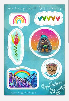 Rainbow Winter Waterproof Sticker Sheet