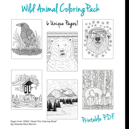 Wild Animal Coloring Page Pack  (6-Pages)