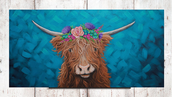 Hello Highland Cow (with floral crown)