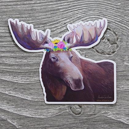 Moose, Flower Crown Sticker