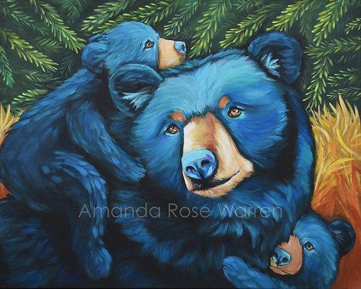Black Bear Family Fine Art Velvet Print