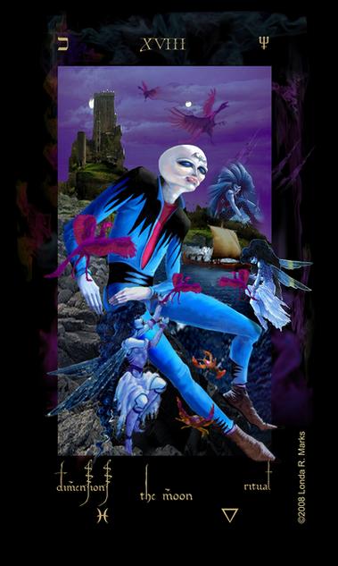 XVIII The Moon, Alchemist Tarot
