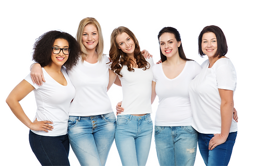 friendship diverse body positive and people concept - group of happy different size women