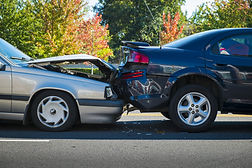Auto accident involving two cars on a ci