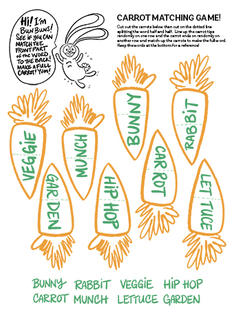Carrot Word Cut Out Matching Game