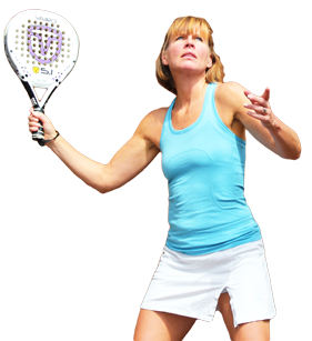 Woman serving in padel tennis