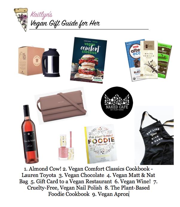 vegan, vegan gift guide, plant based, almond milk, vegan wine, wine, cookbooks, nail polish, matt and nat, vegan chocolate, dairy free