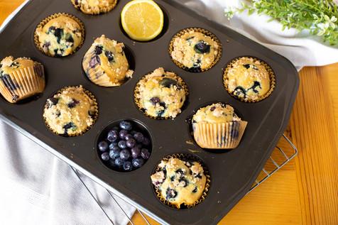 Vegan Buttermilk Lemon Blueberry Muffins