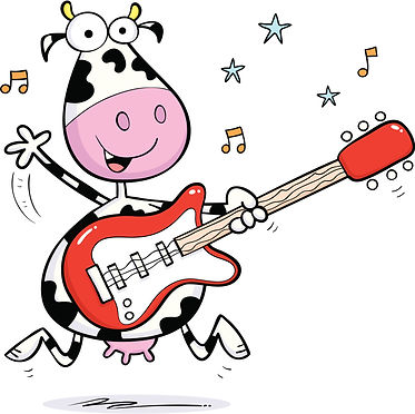 Moojangles cow playing the guitar