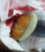ドイツの食事。魚のサンドウィッチ