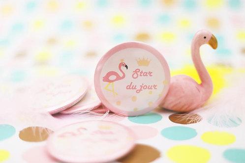 "Badge ""Star du jour"" - Flamant rose"