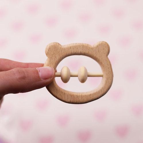 Hochet /anneau de dentition en bois - Tête d'ours