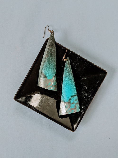 Blue Abstract Tire Earrings